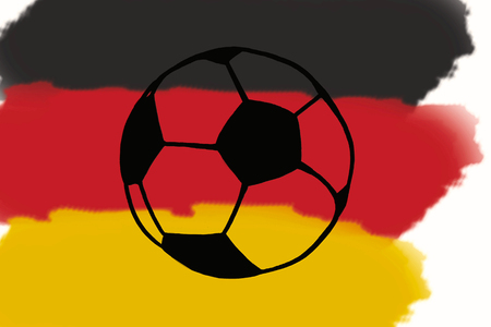 Football ball and Germany flag hand drawn simple illustration, soccer ball on flag.  Sketch or drawing in doodles style. Sport tournament