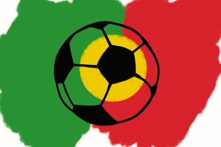 Football ball and Portugal flag hand drawn simple illustration, soccer ball on flag.  Sketch or drawing in doodles style. Sport tournament Stockfoto