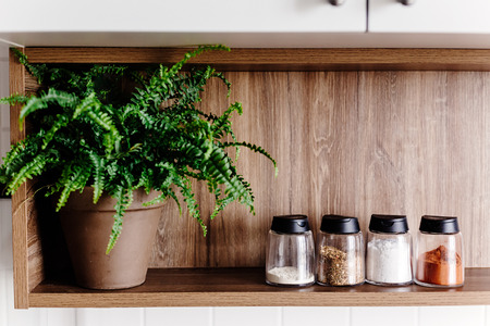 wooden shelf with pepper mill  and spices and green plants on modern kitchen. cooking food. Stylish kitchen interior design in scandinavian style Stock Photo - 104721838