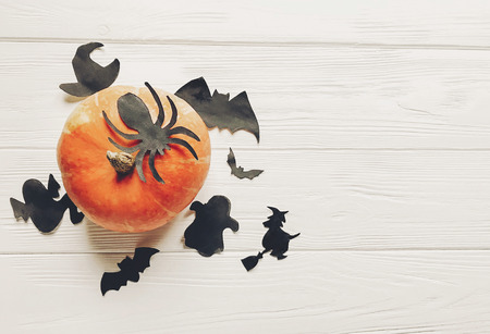 halloween. happy halloween concept. pumpkin with witch ghost bats and spider black decorations on white wooden background top view with space for text. seasonal greetings, holiday celebration Stock Photo