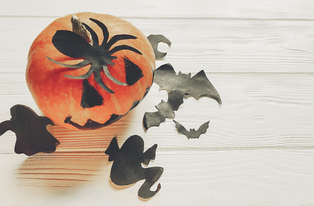 halloween. jack lantern pumpkin with witch ghost bats and spider black decorations on white wooden background. simple cutouts for autumn holiday celebration. seasonal greetings Stock Photo