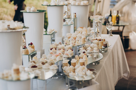 stylish pink candy bar table with delicious cakes,cookies,cupcakes with fruits in pink and white colors. luxury catering in restaurant. modern wedding reception. sweet table Archivio Fotografico