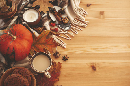 Autumn Flat Lay. Pumpkin,coffee,candle,fall leaves, cookies,berries,nuts,acorns on rustic blanket and wood background top view. Seasons greetings. Space for text. Happy Thanksgiving Stock Photo
