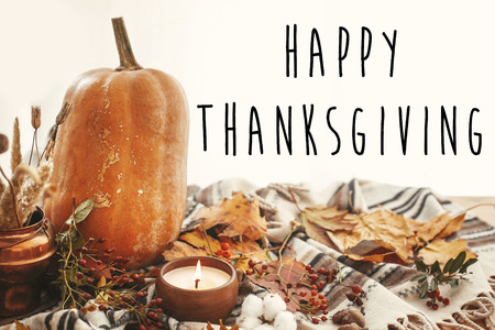 Happy Thanksgiving text on beautiful pumpkin, candle light, fall leaves, berries, nuts, acorns, cotton on soft blanket background in light. Seasons greetings card.