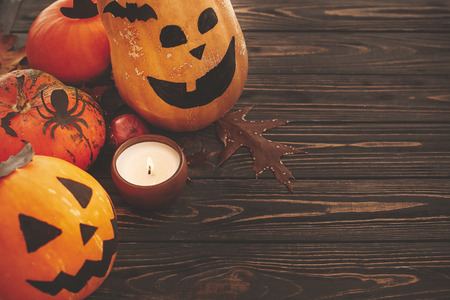 Happy Halloween concept. Pumpkins, jack-o-lantern, witch cauldron,bats, spider, candle light, autumn leaves on dark background. Space for text. Seasons greeting
