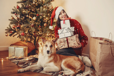 happy girl in santa hat holding gift boxes and cute dog sitting at golden beautiful christmas tree with lights and presents in festive room. family happy moments. winter  holidays Imagens