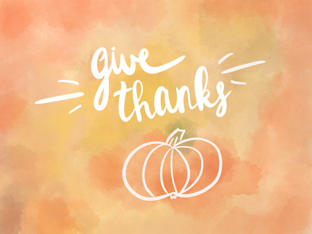 Happy Thanksgiving text illustration, seasonal greeting card. Handwritten give thanks text on watercolor background with simple pumpkin, sketch style Stock Photo