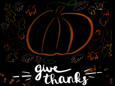 Handwritten Give Thanks sign with simple pumpkin and autumn leaves on black background.Stylish  seasonal greeting card. Happy Thanksgiving concept, text and pumpkin with autumn leaves illustration.