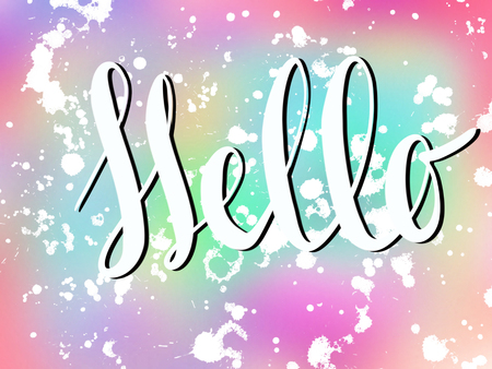 Hello sign on colorful pink and blue background with white splashes, illustration. Unicorn theme. Handwritten calligraphy white text Hello. Hello winter