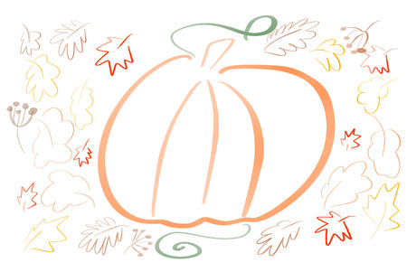 Hand draw simple  pumpkin sketch with leaves on white background isolated. Coloring. Autumn pattern. Happy Thanksgiving  illustration, seasonal greeting card.