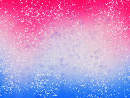 Blue and pink background with white splashes and glitter. Winter abstract wallpaper, illustration. Unicorn party theme. Hand Drawn Stock Photo