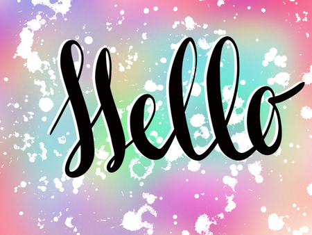 Hello sign on colorful pink and blue background with white splashes, illustration. Handwritten calligraphy black text Hello. Hello party or spring concept
