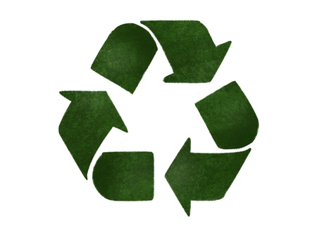 Recycle concept. Green arrows in triangle icon, isolated on white, hand draw illustration. Zero waste concept. Reuse,reduce,recycle. Sustainable lifestyle. Green grass arrows