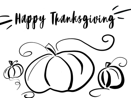 Happy Thanksgivings text and simple black pumpkins sketch on white background isolated. Handwritten Happy Thanksgiving illustration, seasonal greeting card. Stylish drawing