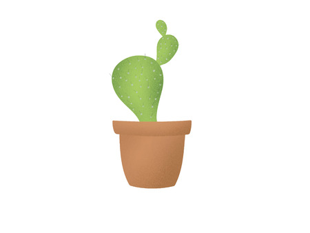 Cute green cactus plant in brown pot, hand drawn illustration on white background isolated. Succulent icon. Eco lifestyle and zero waste concept Stock Photo