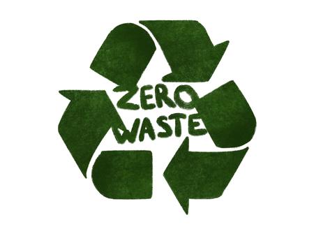 Rifiuti zero concetto. Riciclare. Frecce verdi nell'icona del triangolo, isolato su bianco, illustrazione di tiraggio della mano. Riutilizzare, ridurre, riciclare. Stile di vita sostenibile. Frecce di erba verde Archivio Fotografico
