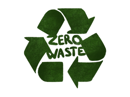 Zero waste concept. Recycle. Green arrows in triangle icon, isolated on white, hand draw illustration. Reuse,reduce,recycle. Sustainable lifestyle. Green grass arrows Stock Photo
