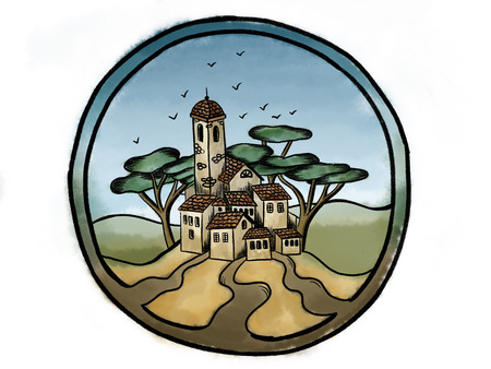 Hand drawn watercolor image of country italian city with brick old buildings,trees, birds, in circle. Travel Europe concept. Cute postcard or emblem of provence village or town. Vacation Banque d'images - 112751844