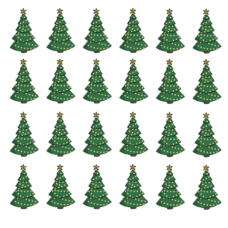 Stylish christmas tree pattern with gold star and lights, isolated on white. Hand drawn illustration of cartoon christmas tree set with yellow baubles. Merry Christmas wrapping paper Stock Photo