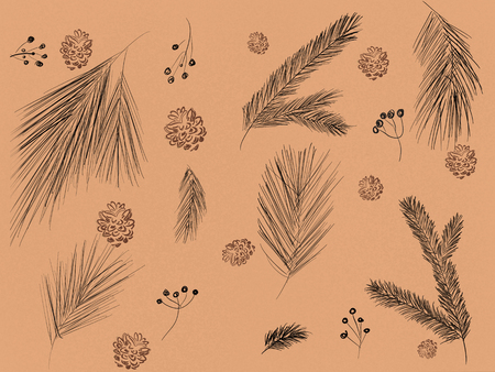Stylish christmas pattern of fir branches, pine cones, berries on brown craft background. Hand drawn winter illustration, seasonal greeting card. Merry Christmas. Wrapping paper Stock Photo