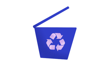 Recycle bin icon. Hand drawn illustration of blue trash can with recycle arrow, isolated on white. Zero waste concept. Separate segregate waste and trash Stock Photo