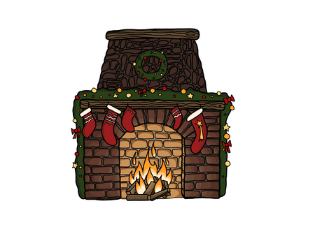 Merry Christmas. Stylish fireplace with christmas stockings, wreath, ornaments at warm fire, isolated on white. Hand drawn illustration of christmas festive eve. Seasonal greeting card