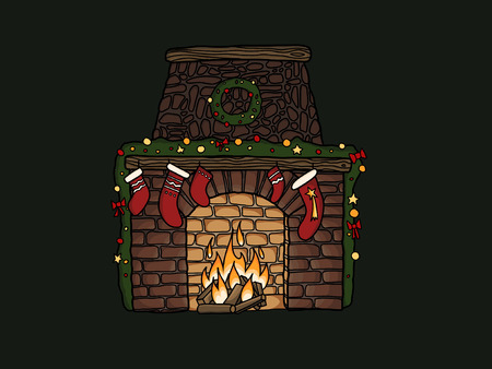 Stylish fireplace with christmas stockings, wreath, ornaments at warm fire on green background. Hand drawn illustration of christmas festive eve. Seasonal greeting card. Merry Christmas