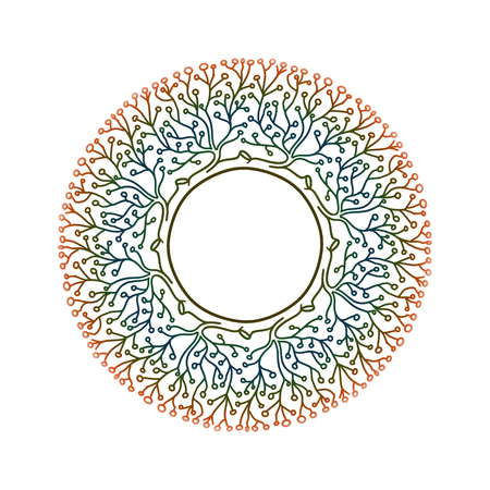Beautiful round mandala of green branches and leaves. Circle or tree of life. Eco and environmental concept. Happy yoga day concept. Namaste. Hand drawn illustration