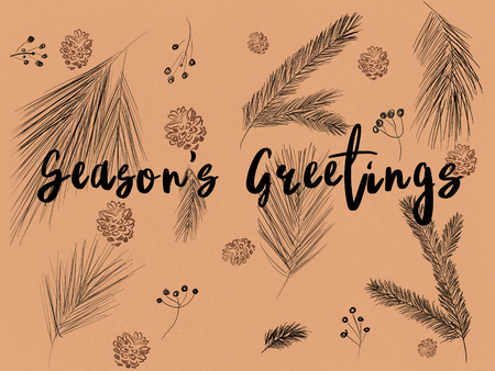 Seasons greetings text on stylish christmas pattern of fir branches, pinecones, berries on brown craft background. Hand drawn winter illustration. Merry Christmas. Greeting card