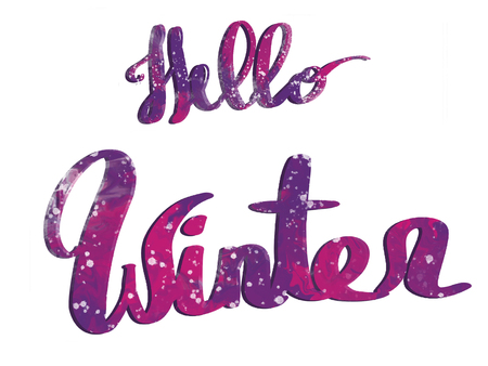 Hello winter text, hand written colorful sign with snow, isolated on white. Stylish winter illustration, Seasonal greeting card
