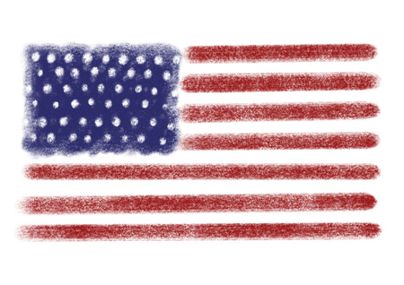 Hand drawn american flag, isolated on white.  Labor day. Veterans day. Happy 4th of july. National american holiday. Icon Stock Photo