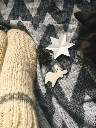 Christmas woolen socks on legs and  stylish reindeer toy, and cute cat  playing with holiday ornaments in festive room. Stock Photo
