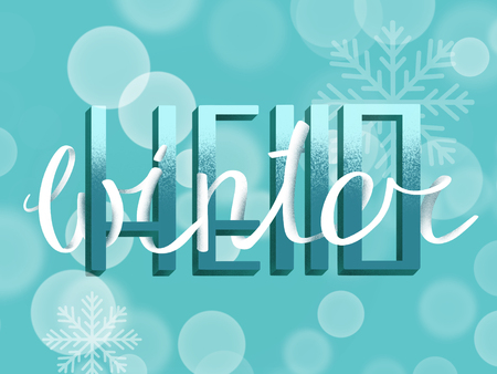 Hello winter text, handwritten sign on winter blue background with sparkle lights and snowflakes. Hand drawn illustration. Happy holidays Stock Photo