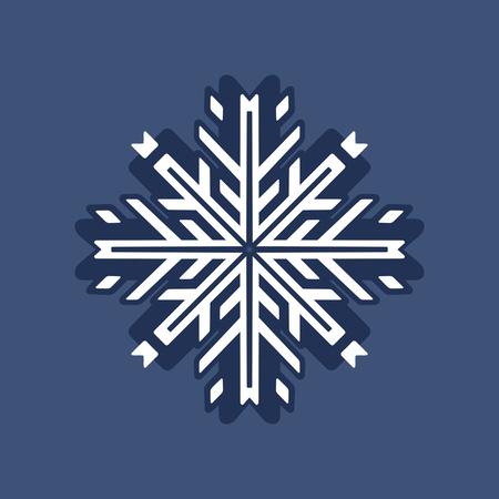 Stylish blue and white snowflake on winter background. Hand drawn illustration. Happy holidays. Hello winter. Modern snowflake icon