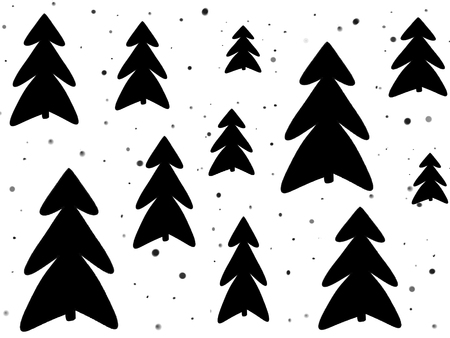 Stylish simple black christmas trees and snow on white background. Hand drawn illustration. Modern greeting card. Happy holidays. Sketch
