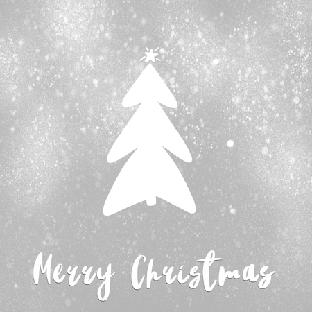 Merry Christmas text, handwritten sign on stylish simple christmas tree with star and snow on grey background. Hand drawn illustration. Modern greeting card. White tree on gray background