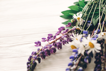 lovely lupine and chamomile bouquet in light on rustic white wooden background in light, space for text. purple wildflowers top view. floral greeting card. spring image. gathering herbs Stock Photo