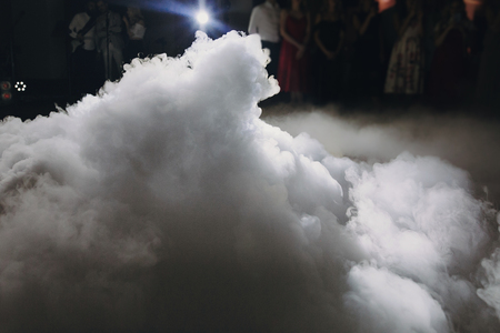 Ice low smoke in light, special effect for wedding first dance at wedding reception in restaurant. Фото со стока