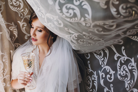 Beautiful stylish brunette bride in silk robe and veil cheering with glass of champagne in the morning at window. Sensual portrait of happy woman model getting ready for wedding day 免版税图像