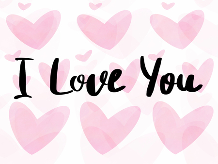 I love you text, hand written sign on pink valentine hearts on white background isolated. Happy Valentines Day greeting card , hand drawn illustration. Valentines day