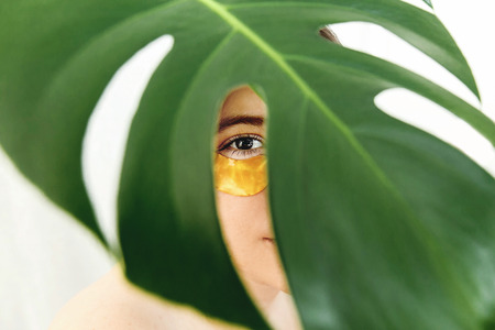 Portrait of beautiful young woman with golden gel patch under eye at green palm leaf, creative beauty photo. Girl with lifting anti-wrinkle collagen patches under eyes. Beauty Cosmetics. Eye Skin Care Stock Photo