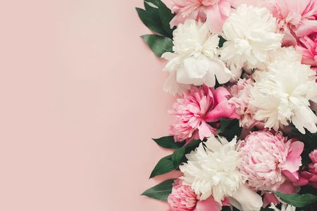 Happy mother's day. International womens day. Greeting card mockup. Stylish pink and white peonies  border on pink paper flat lay with space for text. Stock Photo