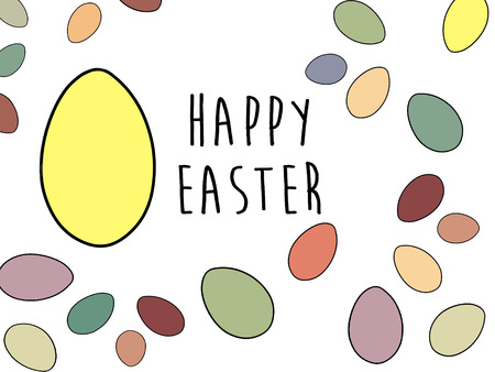 Happy Easter text at stylish easter eggs. Modern simple hand drawn illustration, greeting card sign. Pastel easter eggs on white background.  Space for text