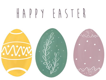 Happy Easter text at stylish easter eggs. Modern simple hand drawn illustration, greeting card sign. Pastel eggs on white background.  Space for text. Easter greetings