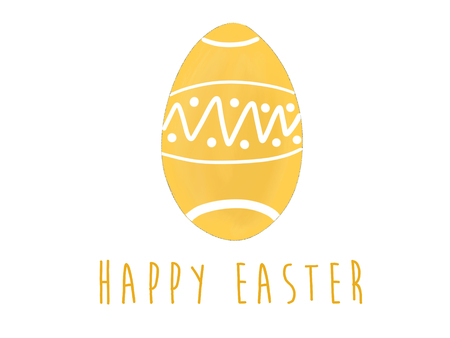 Happy Easter text at stylish yellow easter egg with dots. Modern simple hand drawn illustration, greeting card sign. Pastel egg on white background. Space for text. Easter greetings