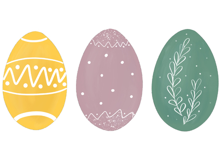 Stylish pastel easter eggs with branch and dots. Modern simple hand drawn illustration, greeting card sign. Green, yellow, pink eggs on white background. Space for text. Easter pattern