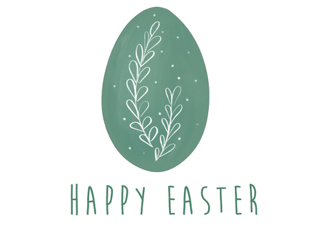 Happy Easter text at stylish green easter egg with branch. Modern simple hand drawn eco illustration, greeting card sign. Pastel egg on white background. Zero waste holidays