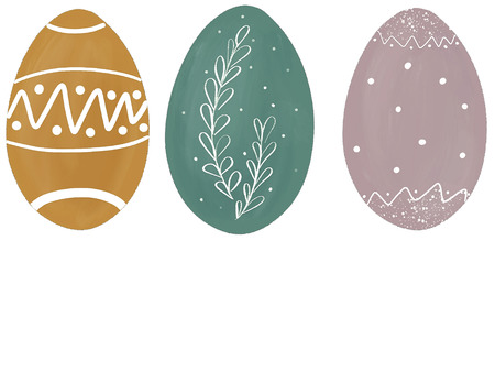 Stylish pastel easter eggs with branch and dots. Modern simple hand drawn illustration, greeting card sign. Green, yellow, pink eggs on white background. Space for text. Easter greetings