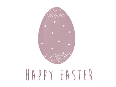 Happy Easter text at stylish pink easter egg with dots. Modern simple hand drawn illustration, greeting card sign. Pastel egg on white background. Space for text. Easter greetings