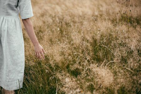 Stylish girl in linen dress holding hand among herbs and wildflowers in field. Boho woman walking in countryside among grass, simple slow life style. Space for text. Atmospheric image Фото со стока